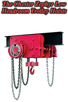 Chester Zephyr Low Headroom Tolley Hoist